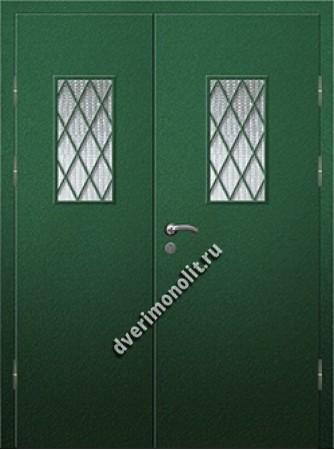 Входная металлическая дверь со стеклом и решеткой 006-012