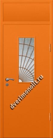 Входная металлическая дверь со стеклом и решеткой 006-010