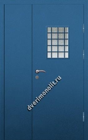 Входная металлическая дверь со стеклом и решеткой 006-011