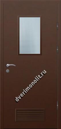 Входная металлическая дверь со стеклом и вентиляционной решеткой 006-013