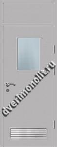 Входная металлическая дверь со стеклом и вентиляционной решеткой 006-014