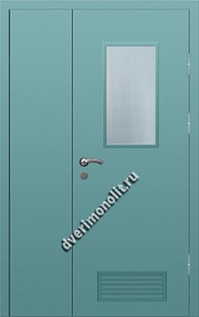 Входная металлическая дверь со стеклом и вентиляционной решеткой 006-015