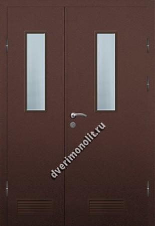 Входная металлическая дверь со стеклом и вентиляционной решеткой 006-016