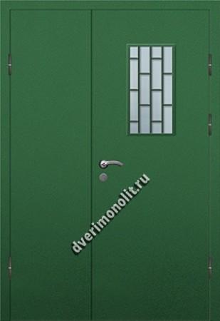 Входная тамбурная дверь со стеклом и решеткой - 008-011