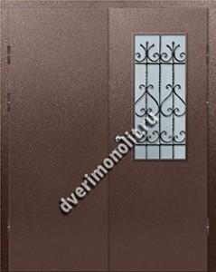 Входная тамбурная дверь со стеклом и решеткой - 008-012