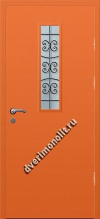 Входная тамбурная дверь со стеклом и решеткой - 008-003