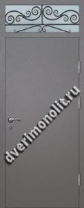Входная тамбурная дверь со стеклом и решеткой - 008-006