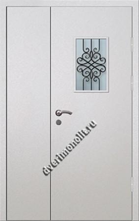 Входная тамбурная дверь со стеклом и решеткой - 008-009